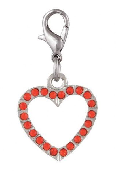 Ciondolo cuore rosso con brillanti cm.3,5x1,8x0,5h