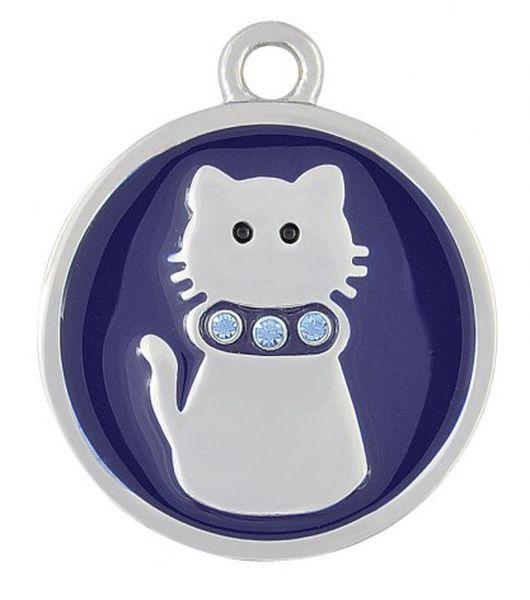 Pendente acciaio gatto blu