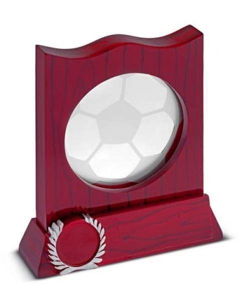 Trofeo pallone calcio real in legno rosso e vetro cm.12x3x14,7h