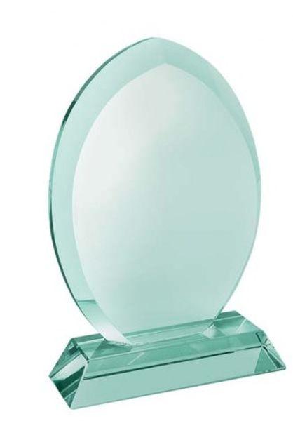 Trofeo goccia in vetro verde con piedistallo cm.4x11x17,2h