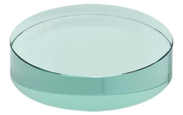 Fermacarte in vetro verde forma circolare cm.1,9h diam.8