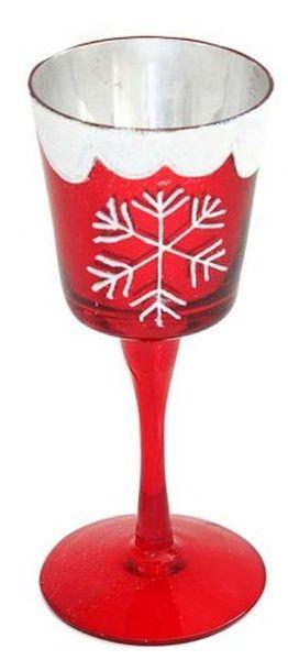 Portacandela rosso fiocco di neve