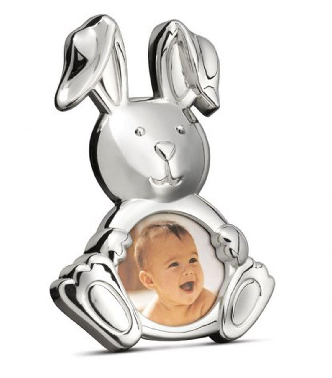 Portafoto bambino bambina argentato argento coniglio