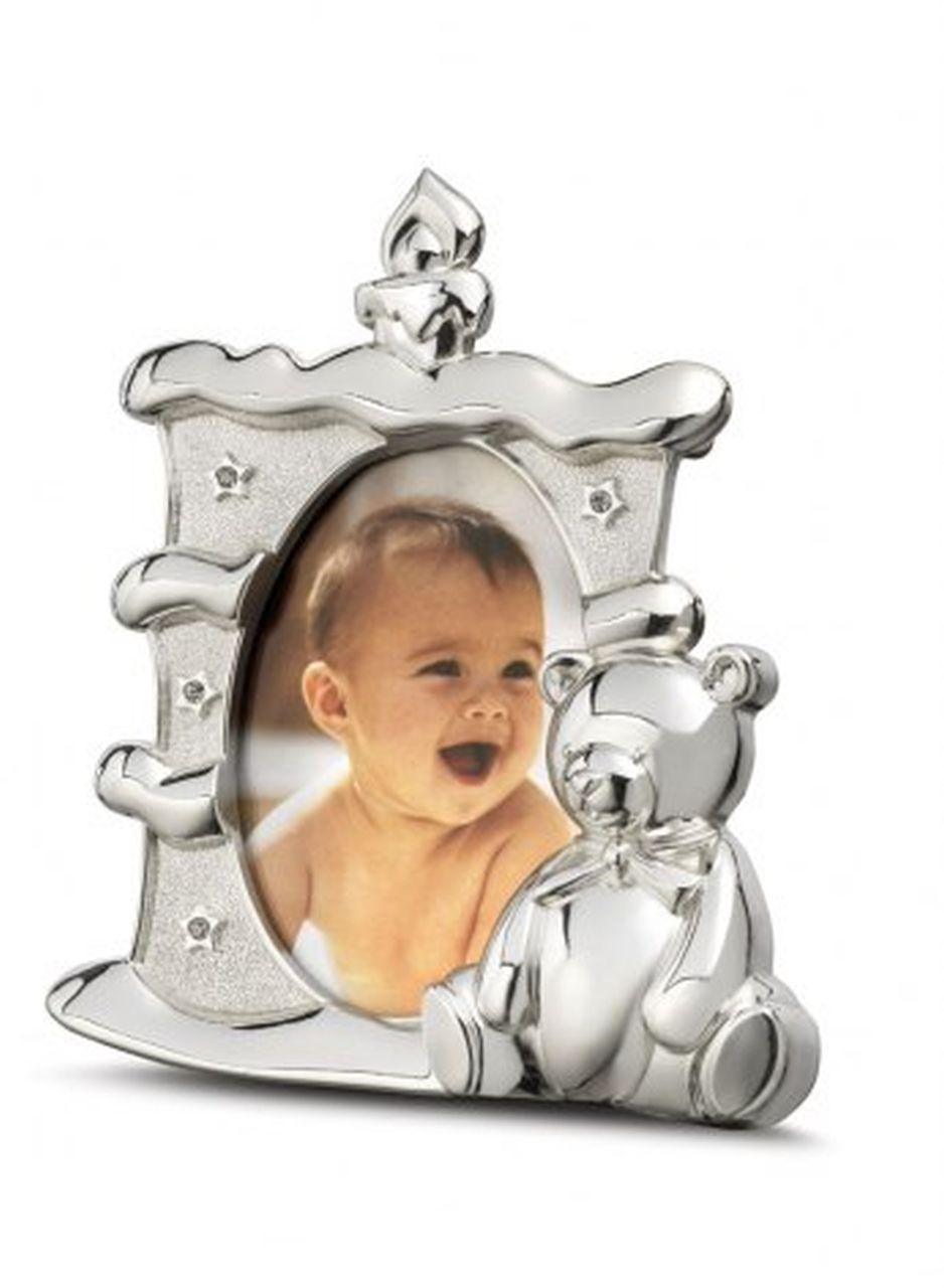 Portafoto bambino bambina argentato argento a forma di candela candela cm.10x11x3h