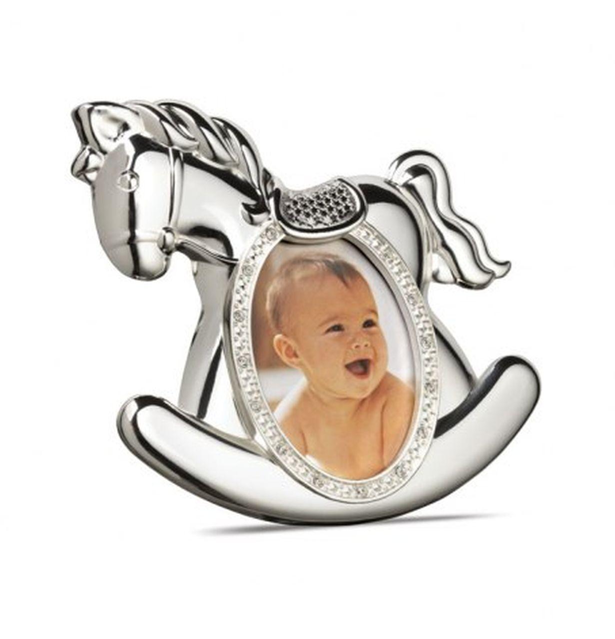 Portafoto bambino bambina argentato argento cavallo a dondolo cm.12x12x2h