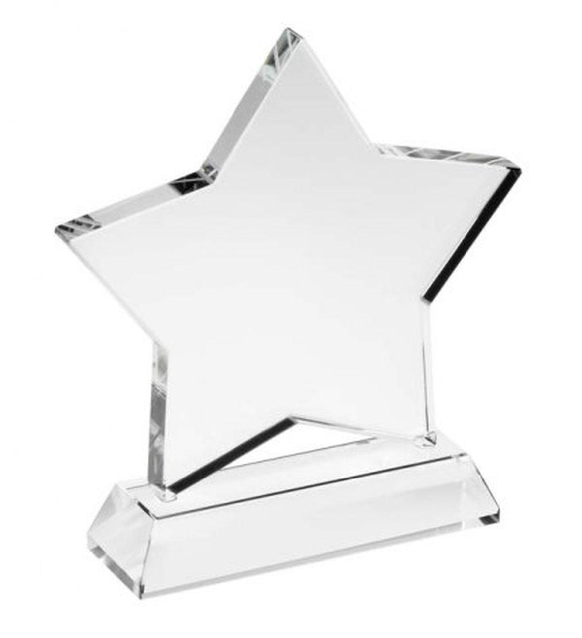 Trofeo STELLA in vetro bianco cm.7x2x10h