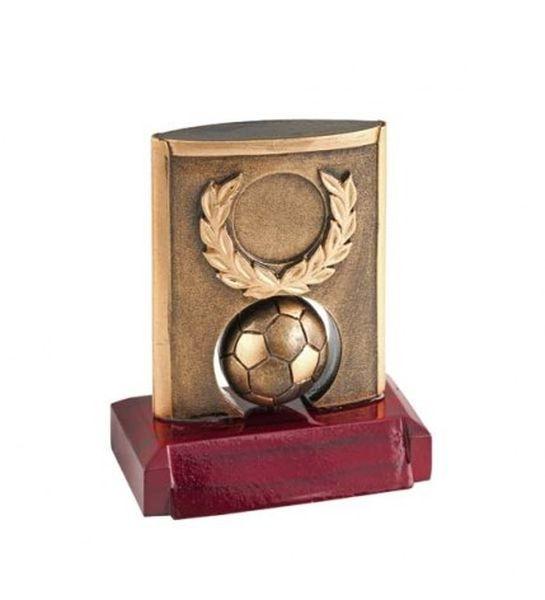 Trofeo calcio base legno pallone e ghirlanda