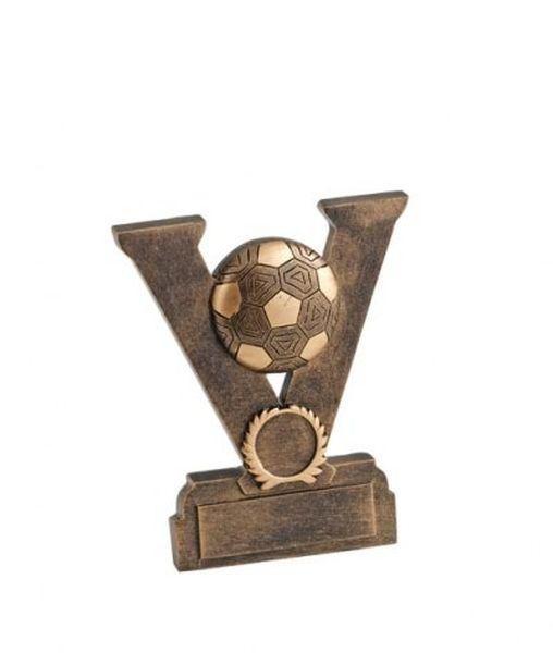 Trofeo vittoria calcio con pallone in resina