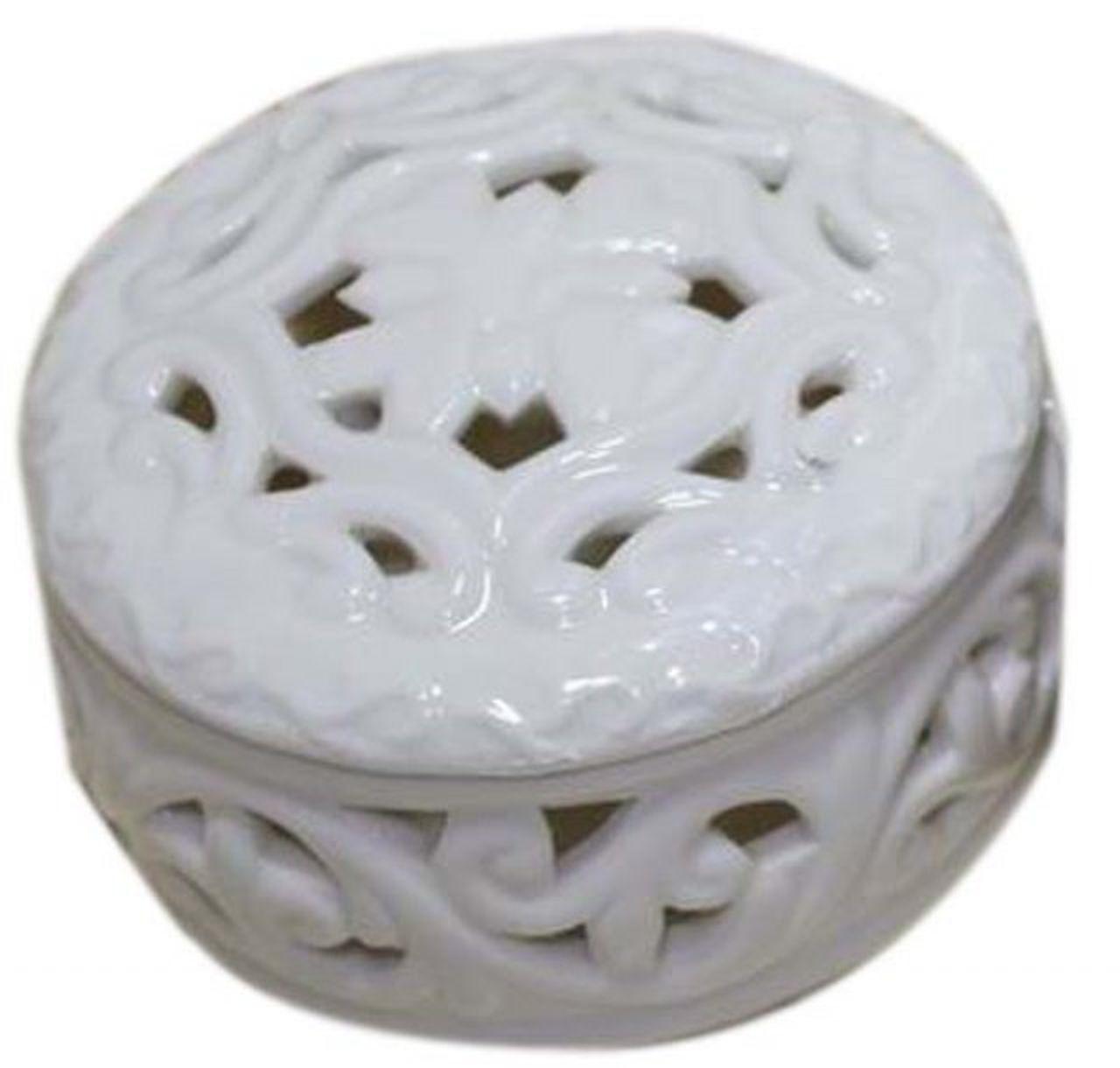 Scatola in porcellana bianca bomboniera tonda cm.7,7x7x4,3h diam.7