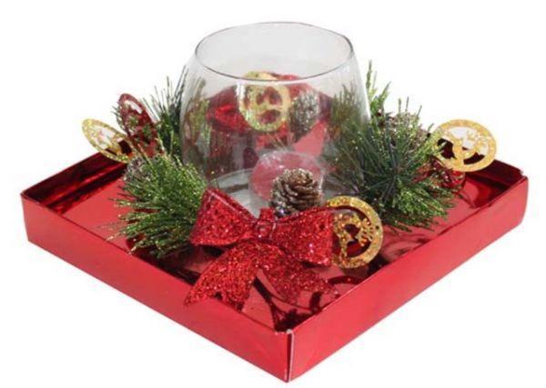 Bicchiere natalizio con candela