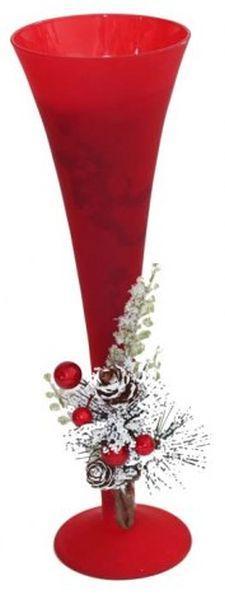 Portacandela natalizio bicchiere flute rosso cm.25h diam.8