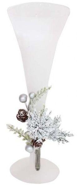 Candela natalizia nel bicchiere flute bianco cm.25h diam.8