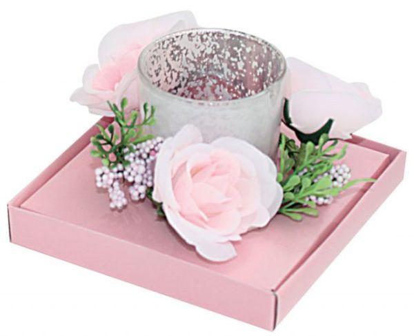 Candela bicchiere fiori rosa cm.10,5x10,5x7h