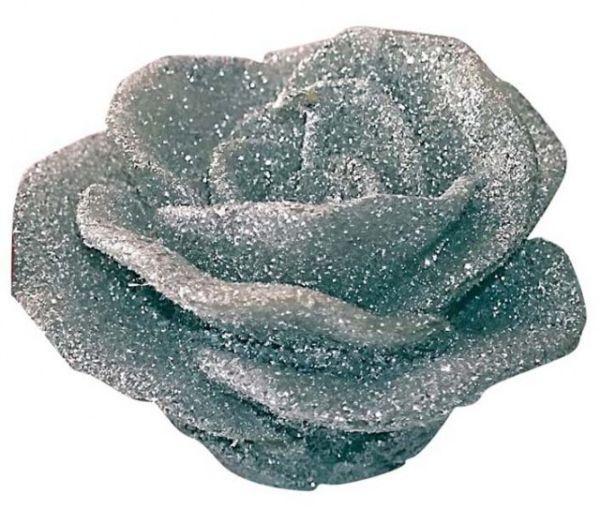 Candela fiore rosa argento cm.8,5x8,5x5,8h