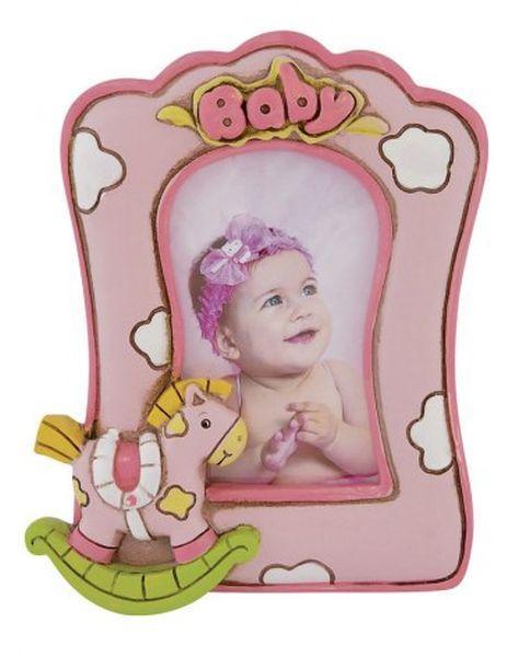 Portafoto rosa bimba cm.12x9x3,5h