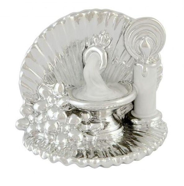 Bomboniera battesimo argentata argento acqua Santa cm.5,5x5x5,5h