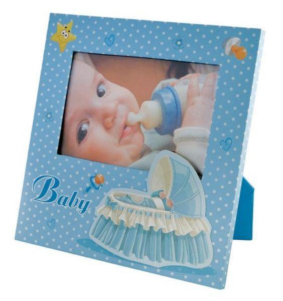 Portafoto bambino azzurro culla