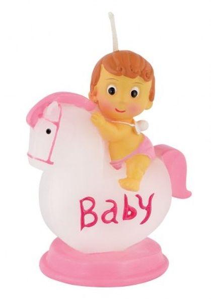 Candela bimba con cavallo in rosa cm.8h diam.5,5