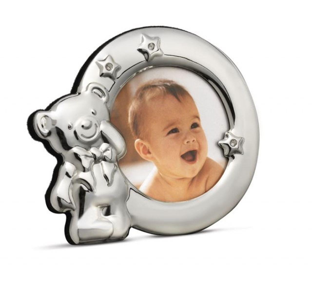 Portafoto Orsetto Bambino Bambina Argentato Argento cm.12x10x2h