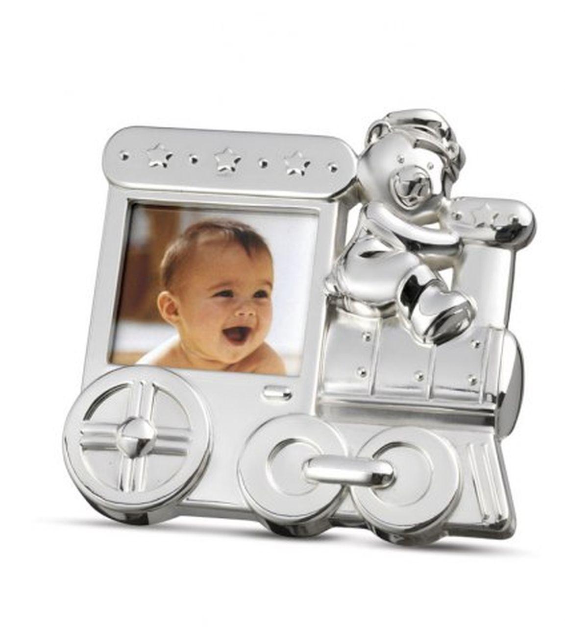 Portafoto trenino bambino bambina argentato argento cm.11x11x2h
