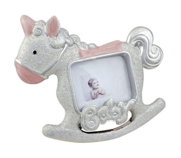 Portafoto cavallo a dondolo rosa cm.11,5x10x2h