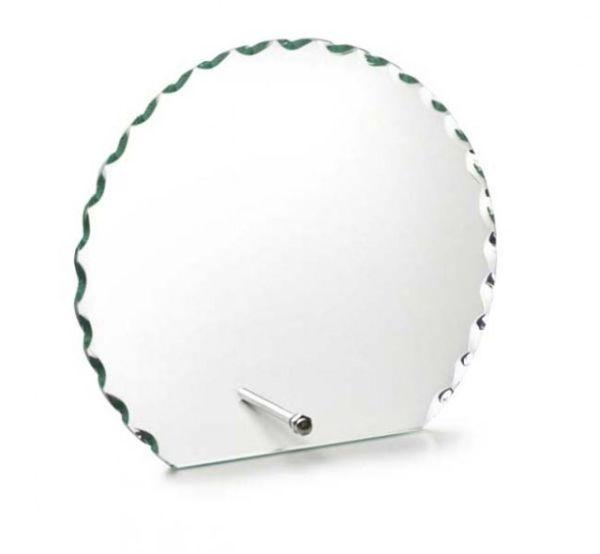 Trofeo in vetro con supporto forma circolare cm.11x12x1h