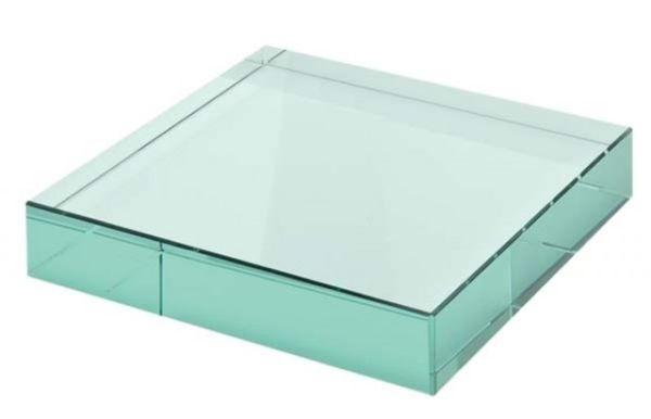 Fermacarte in vetro verde cm.12x12x1,2h