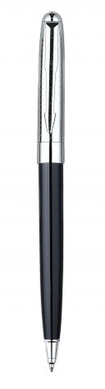 Penna in metallo nera cromata lucida
