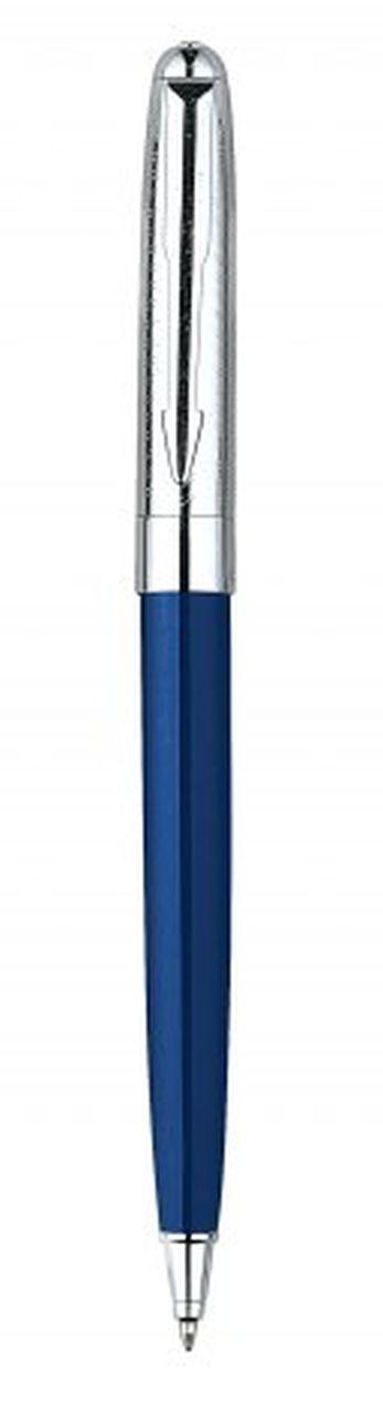 Penna in metallo blu cromata lucida cm.13x1x1h