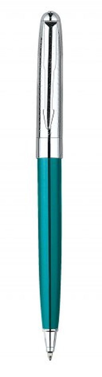 Penna in metallo azzurra cromata lucida cm.13x1x1h