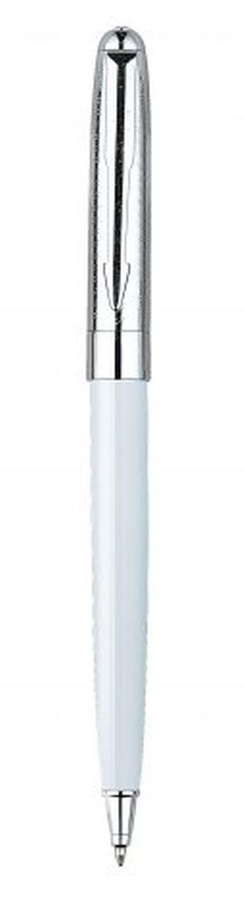 Penna in metallo bianca cromata lucida cm.13x1x1h