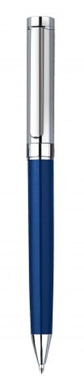 Penna in metallo blu cromata lucida cm.14x1x1h