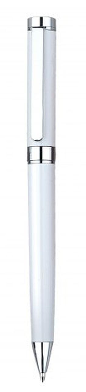 Penna in metallo bianca cromata lucida