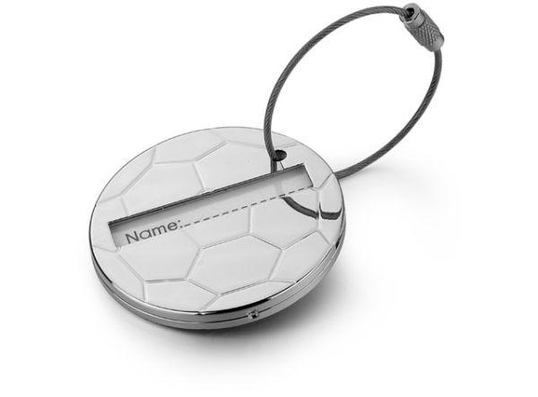 Targhetta per valigia soccer in silver plated cm.9,6x5,6x2h
