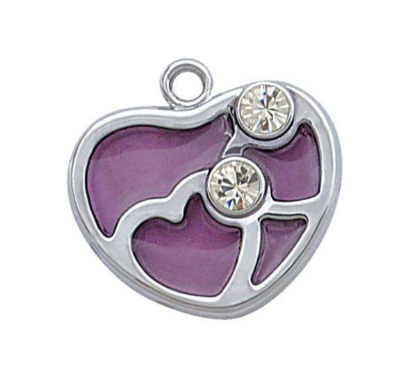Charm cuore cromato viola con brillanti