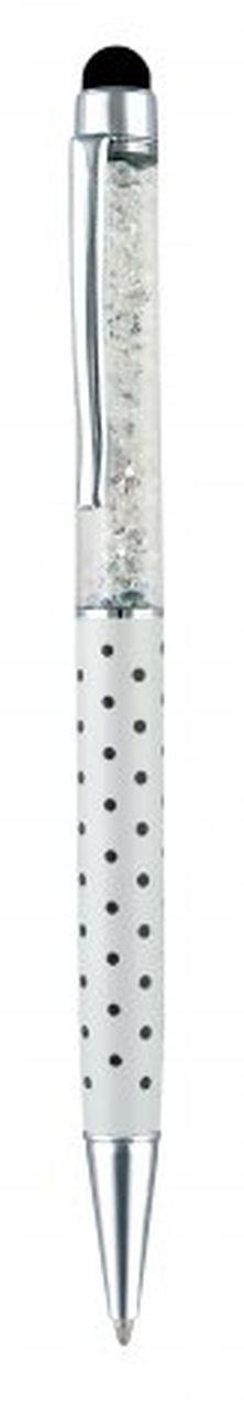 Penna touch metallo bianca pois neri cm.15x1x1h