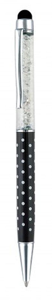 Penna touch metallo nera pois bianchi