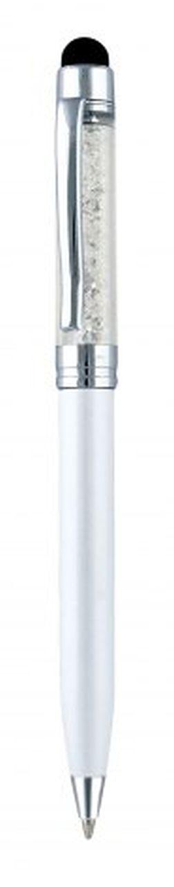 Penna touch metallo bianca perlata cm.13x1x1h