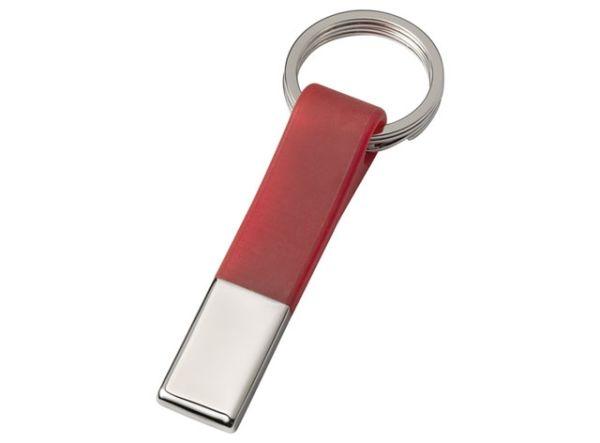 Portachiavi cromato doppio anello rosso cm.10,5x3,6x1h