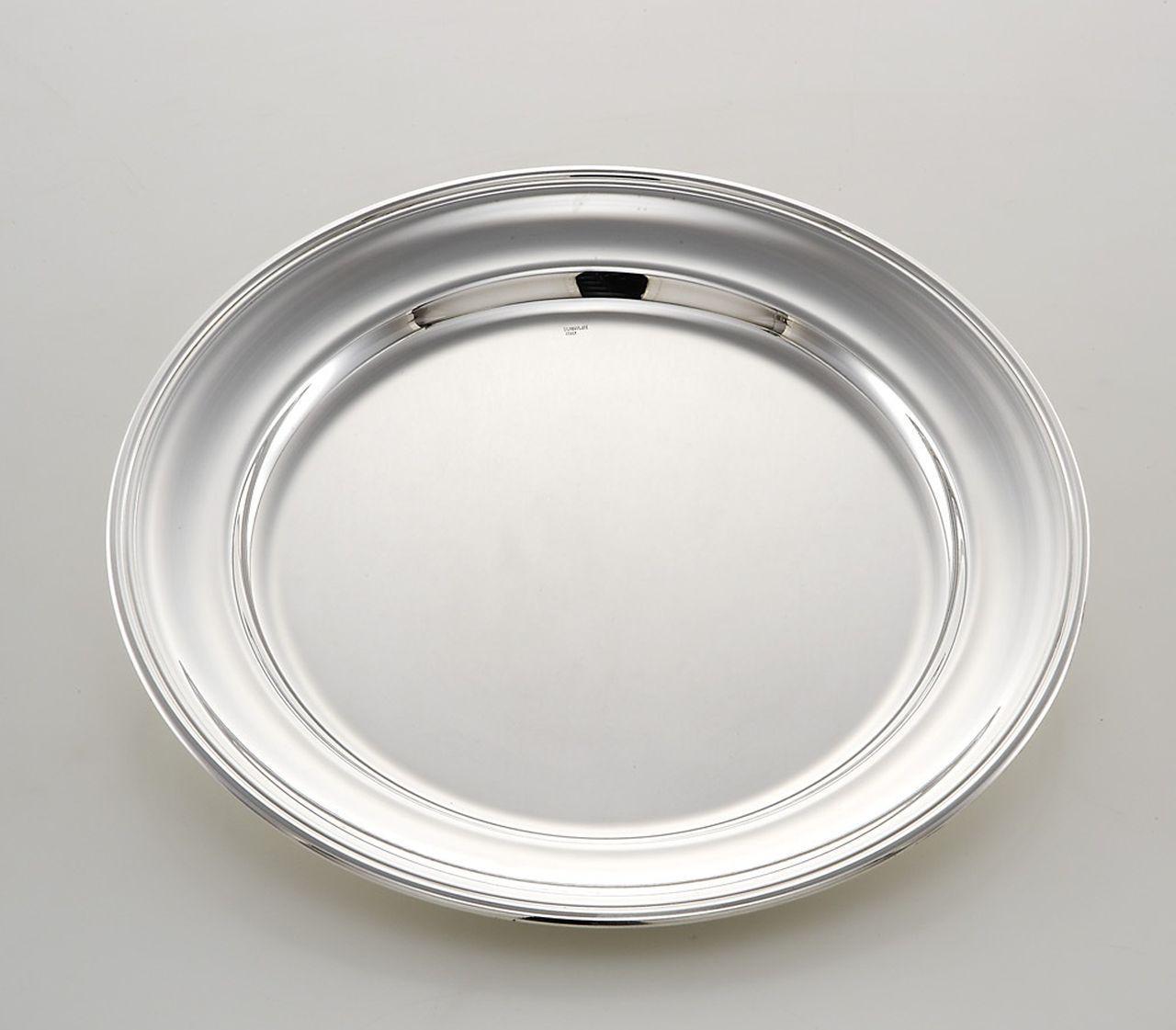 Piatto tondo portata stile Inglese argentato argento sheffield cm.diam.18