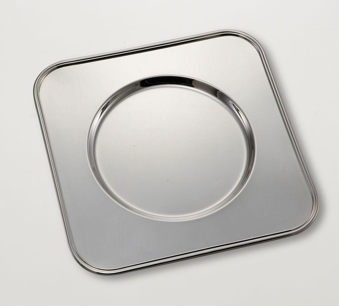 Sottopiatto quadro stile inglese argentato argento sheffield cm.32x32