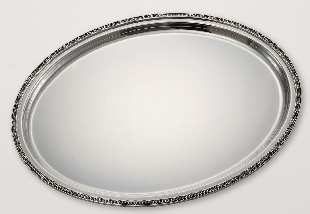 Vassoio Ovale Argentato Argento Stile Impero cm.45x35