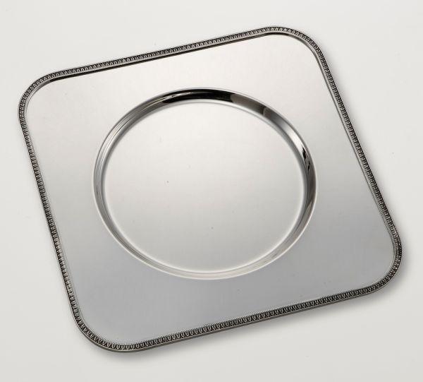 Sottopiatto argentato argento quadro stile Impero cm.32x32