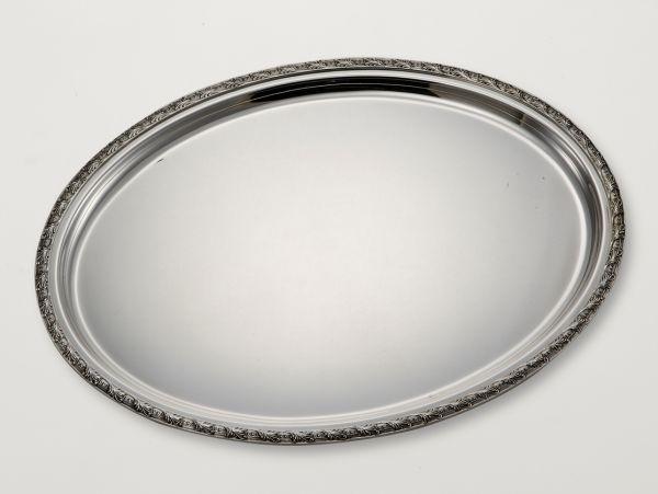 Vassoio ovale stile floreale argentato argento sheffield
