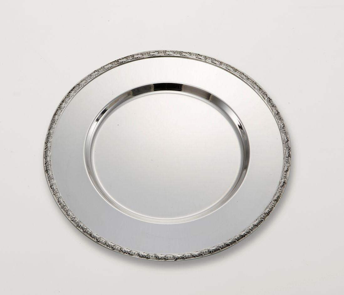 Sottopiatto stile floreale argentato argento sheffield cm.diam.32