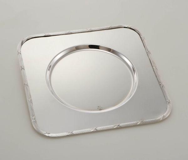 Sottopiatto quadro stile Rubans argentato argento sheffield cm.32x32