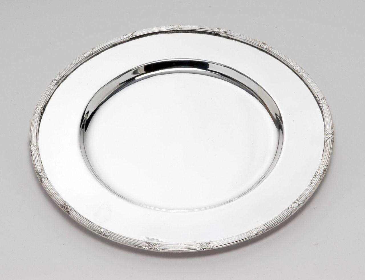Sottopiatto stile Rubans argentato argento sheffield cm.diam.34