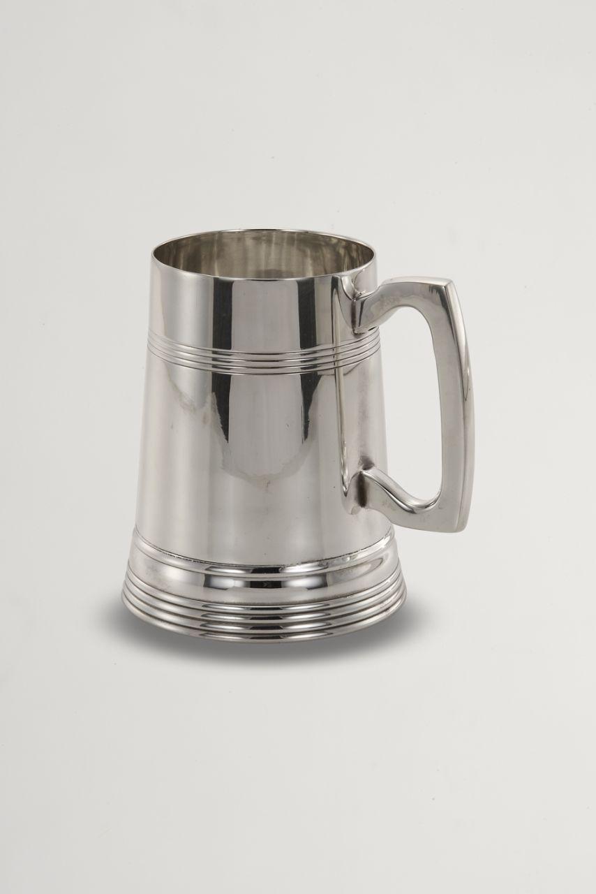 Bicchiere mug birra argentato argento sheffield stile Inglese