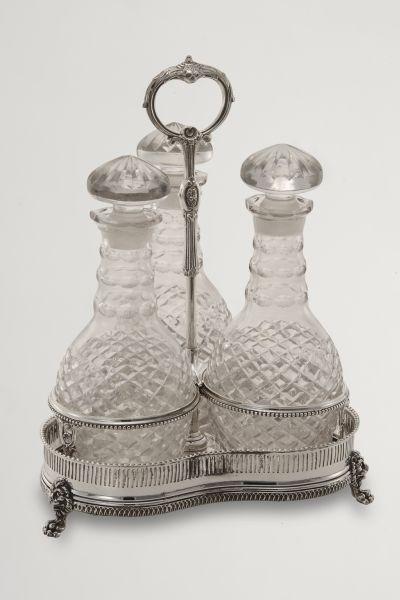 Set 3 bottiglie liquore vetro stile Liberty argentato argento sheffield
