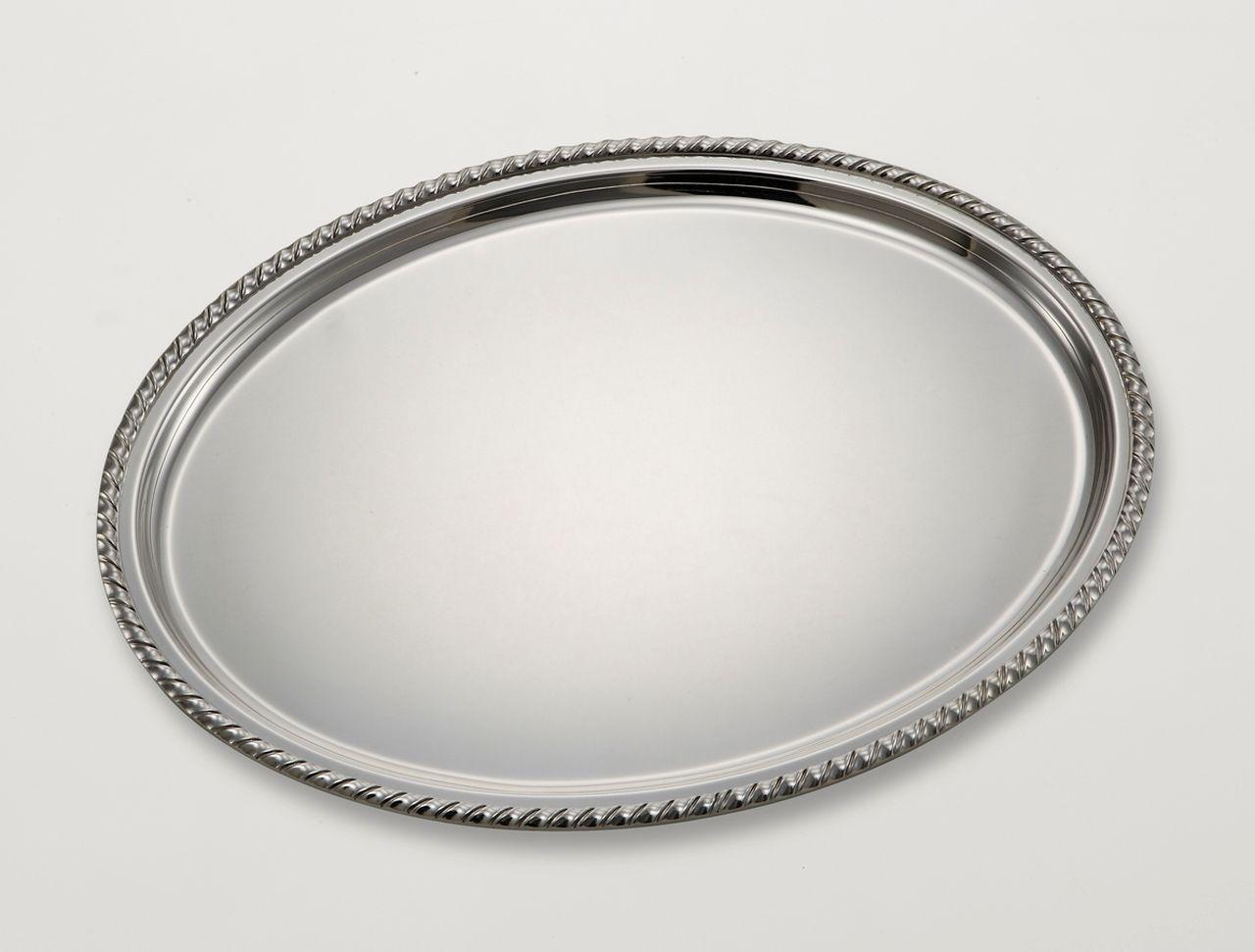 Vassoio ovale stile San Marco argentato argento cm.30x22